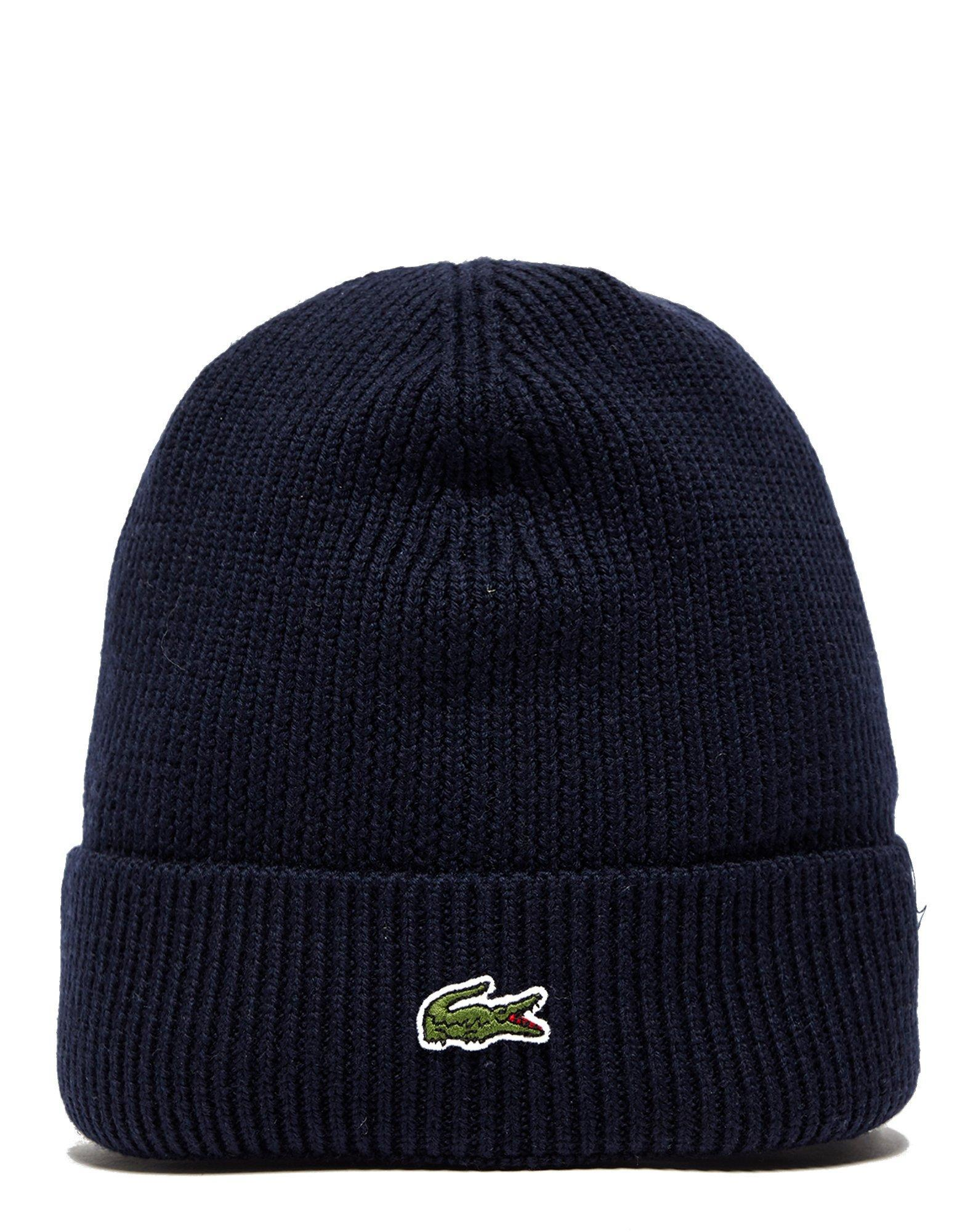 c980e8ca261 Lacoste Knitted Logo Beanie in Blue for Men - Lyst