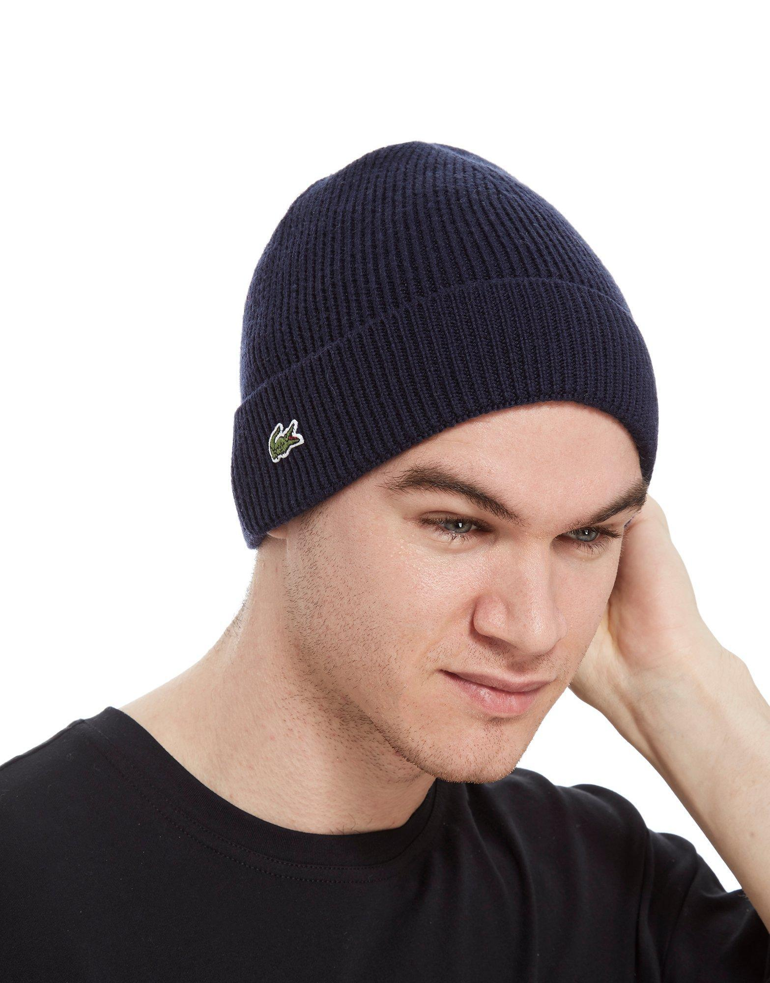 d7852b9a4a5 Lyst - Lacoste Knitted Logo Beanie in Blue for Men