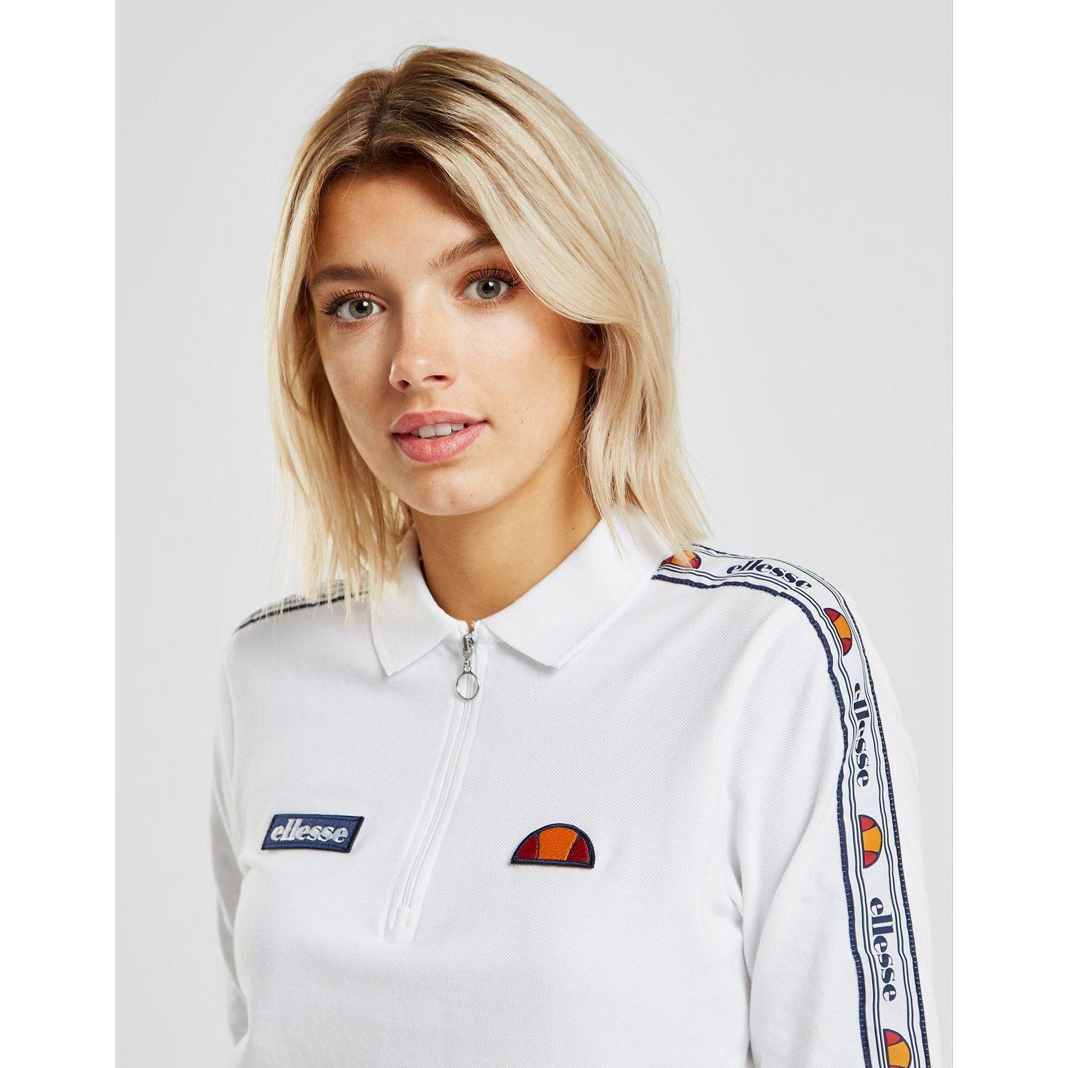 1dfee22bff8 Lyst - Ellesse Tape Long Sleeve Crop Polo Shirt in White