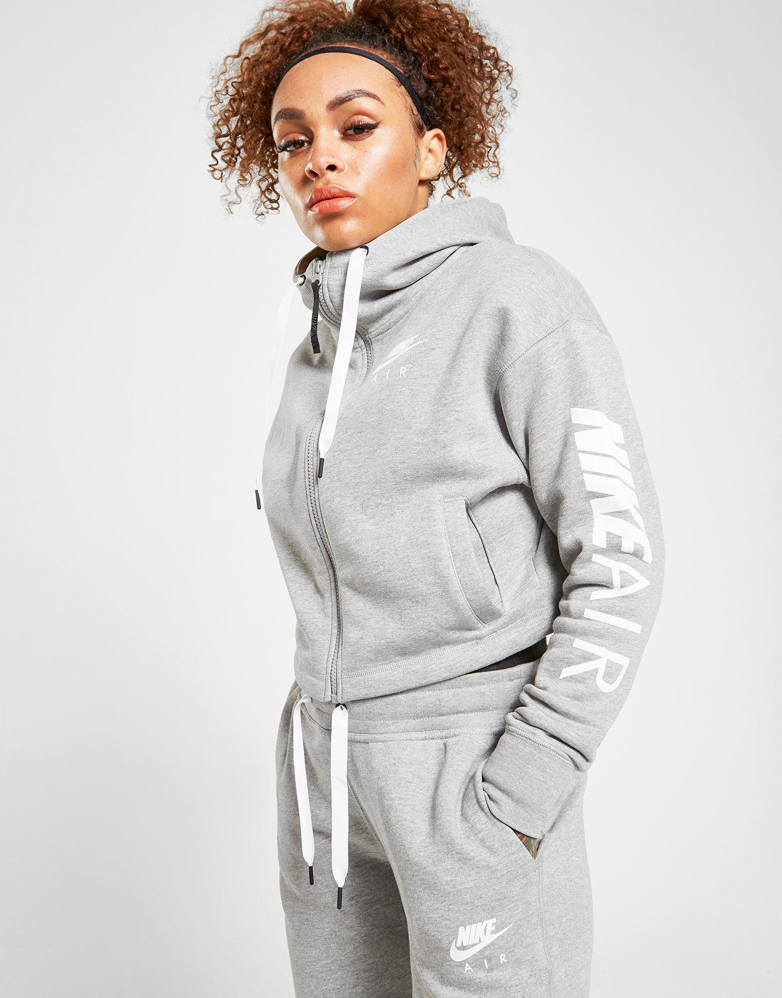 c02d001e4b2dc Nike Air Crop Full Zip Hoodie in Gray - Lyst
