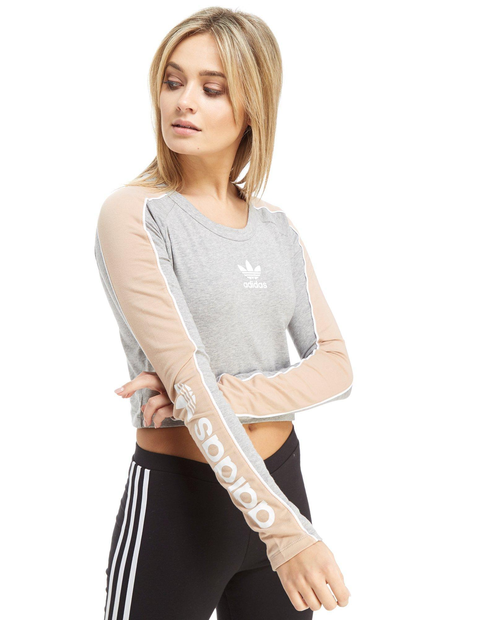 b4f09bc21983 Lyst - Adidas Originals Linear Long Sleeve Crop T-shirt in Gray