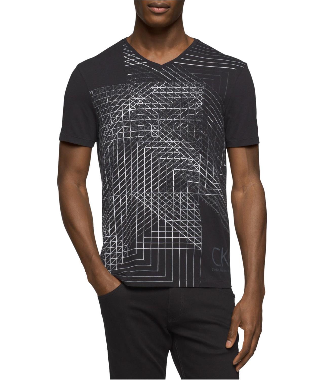 eacde8152 Lyst - CALVIN KLEIN 205W39NYC Illusion Grid Graphic T-shirt Black ...
