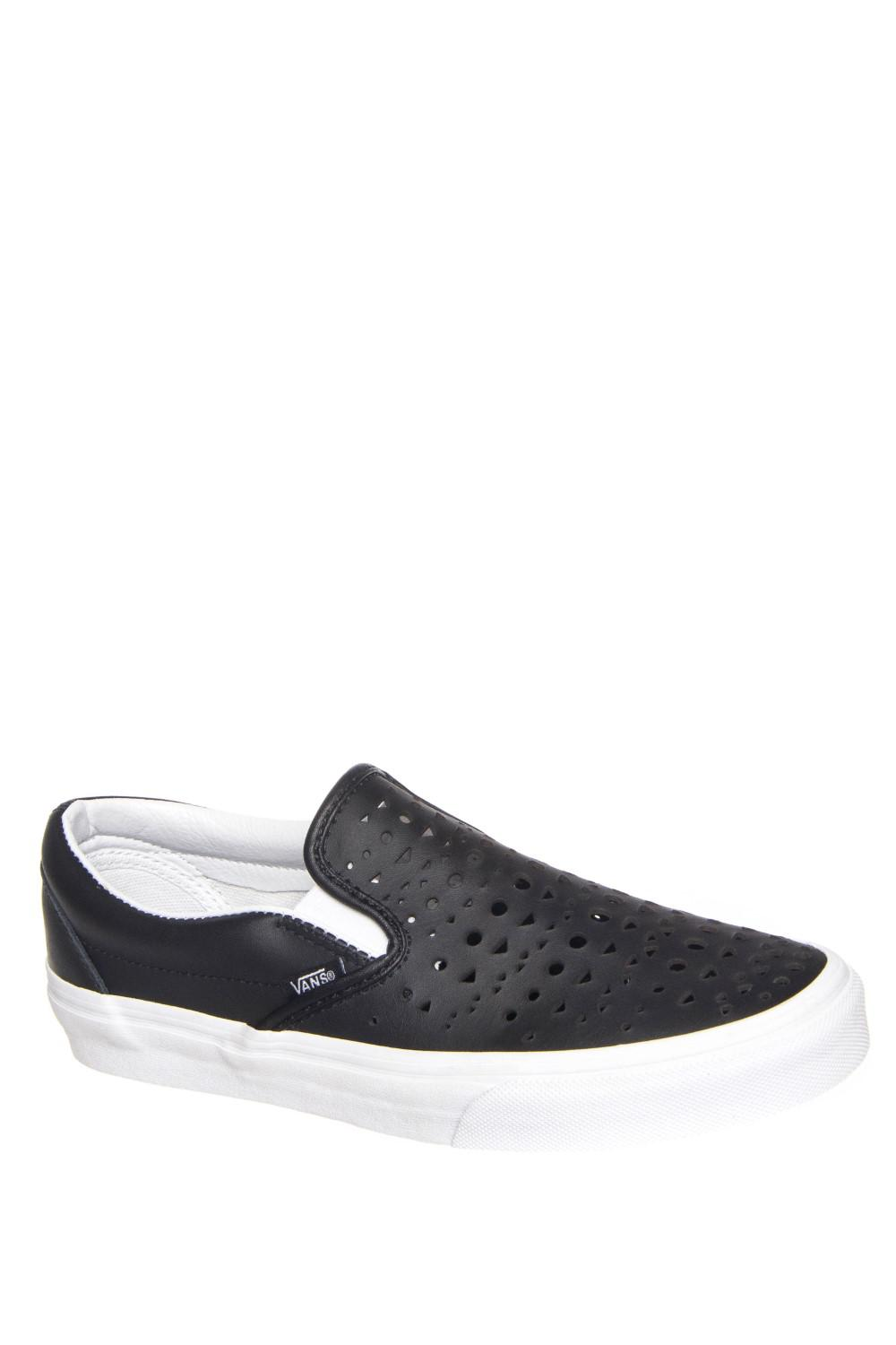 05728dc076 Lyst - Vans Classic Slip-on Cut Out Geo Black Leather Trainers 6.5 ...