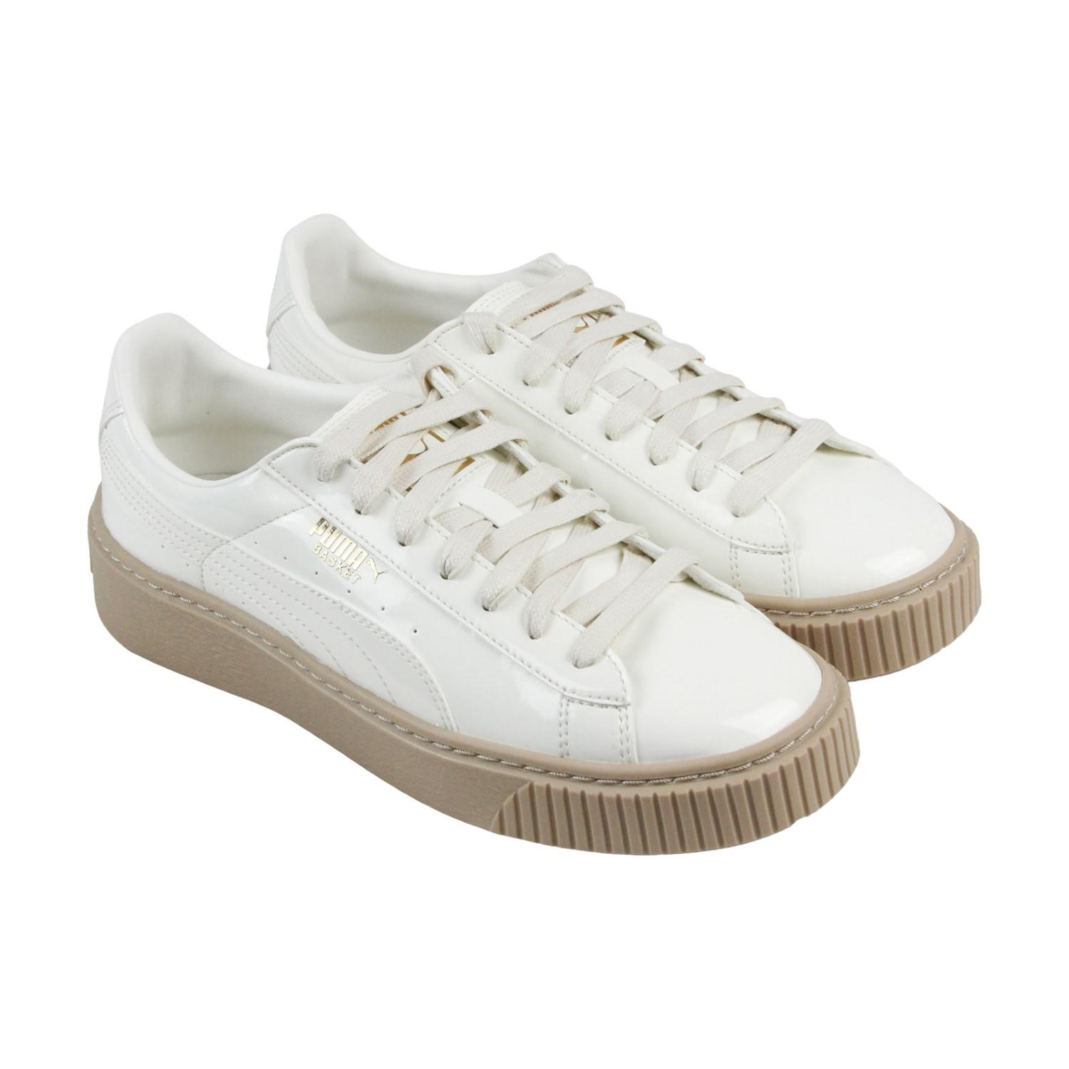 fba3073ece0 Women s White Basket Platform Patent Marshmallow Marshmallow Lace Up  Sneakers