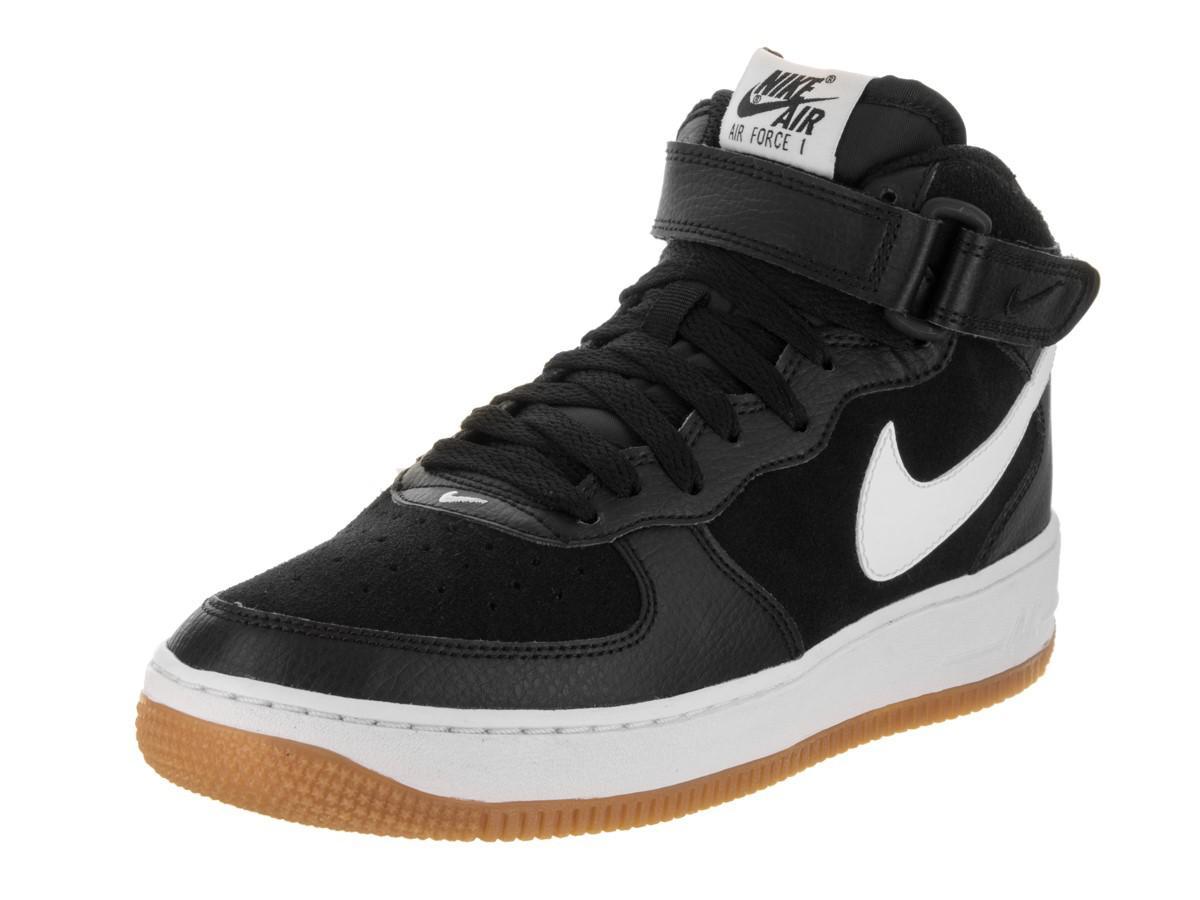 buy popular 2ed42 cafb9 Lyst - Nike Kids Air Force 1 Mid (gs) Black white Gum Med Brown ...