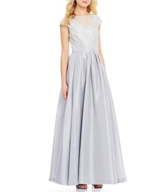 2e05bfbeb8b6 Lyst - Calvin Klein Sequin Taffeta Cap Sleeve Gown in Metallic