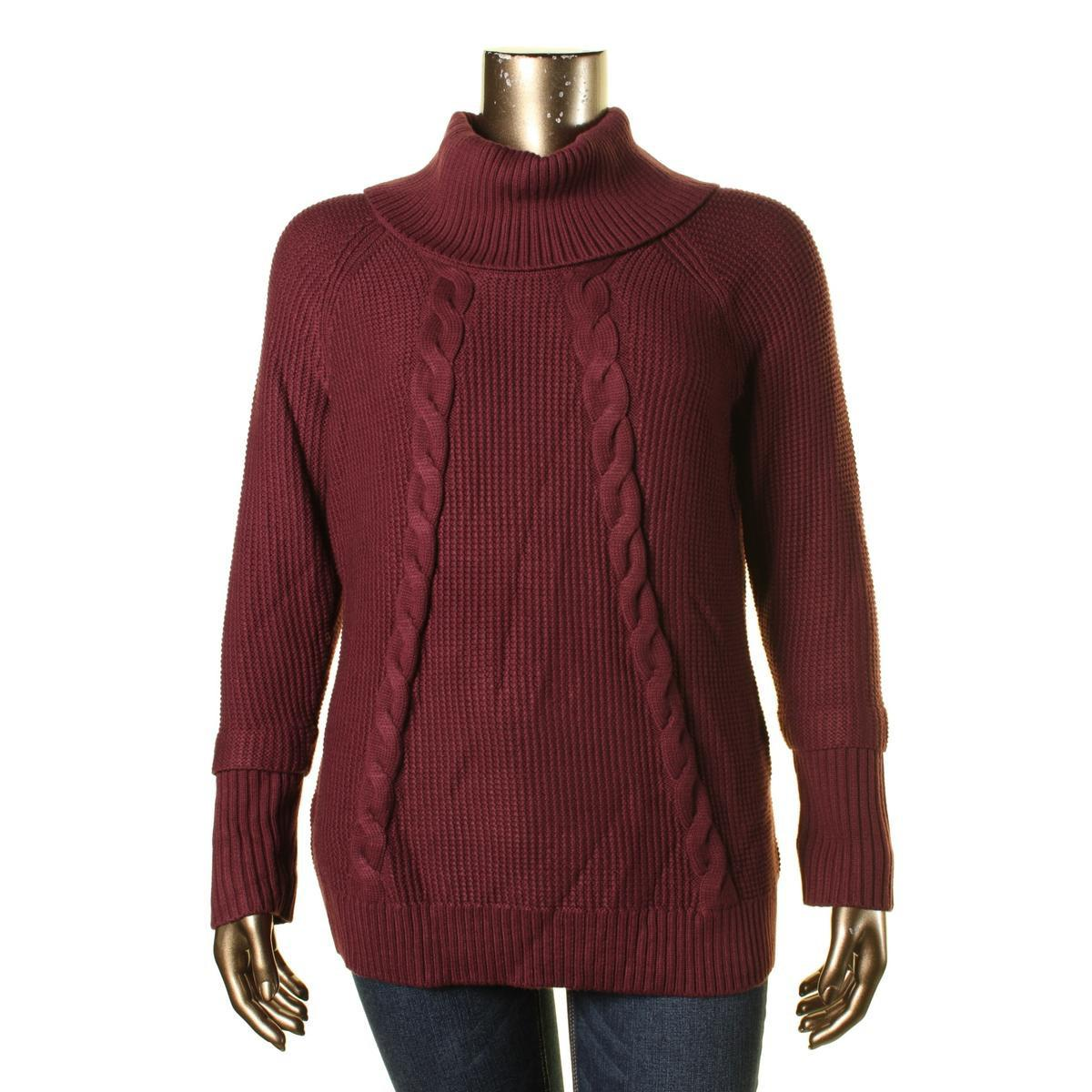 Calvin klein Womens Cable Knit Cowl-neck Sweater in Red | Lyst