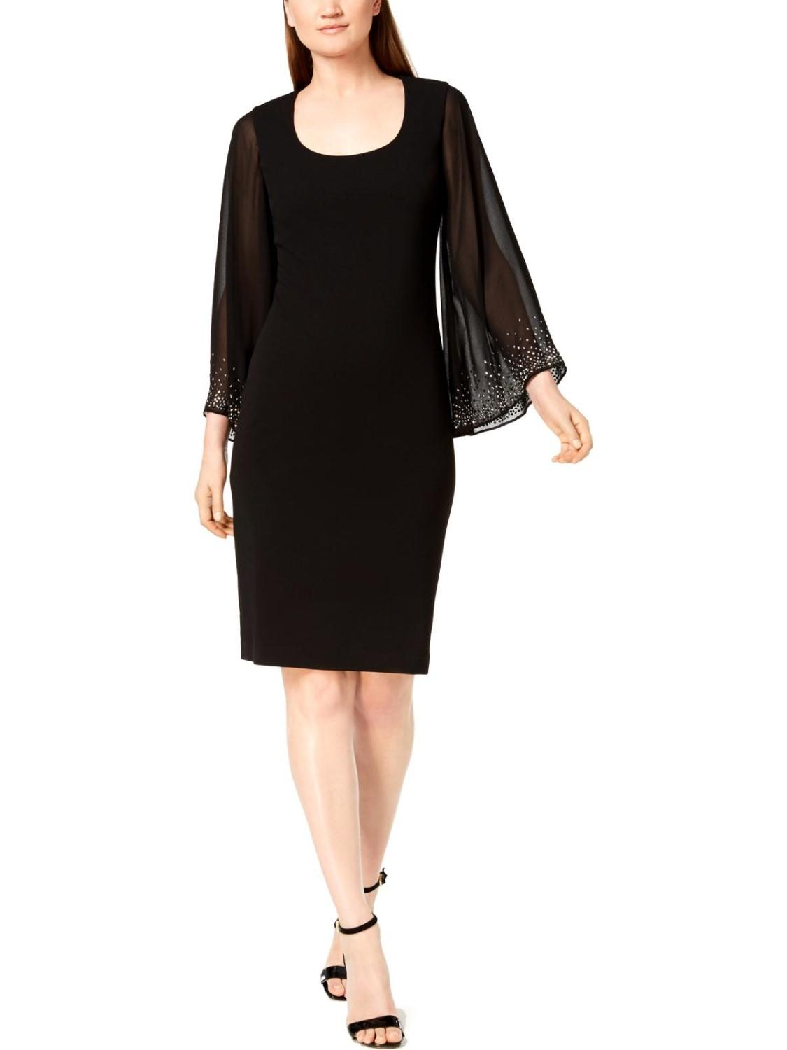 c0fa27282998 Calvin Klein Bell Sleeves Party Sheath Dress in Black - Save 7% - Lyst