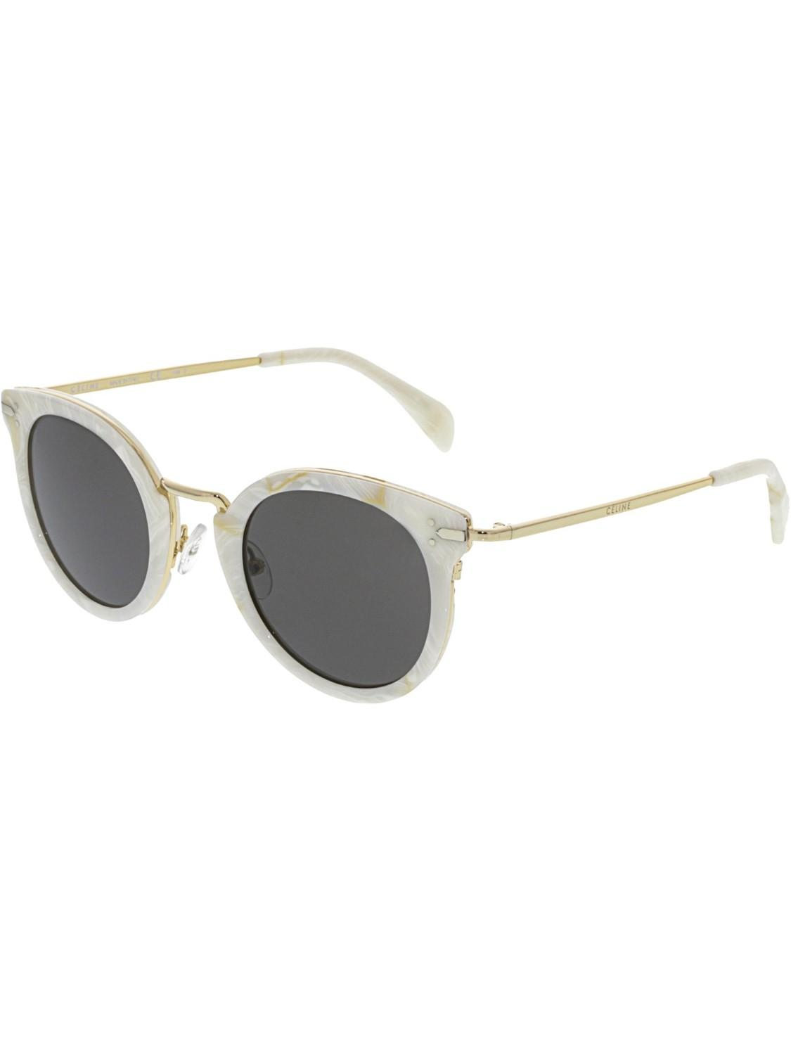 02f5a3de5e9e Lyst - Céline Cl41373s-23f-48 White Oval Sunglasses in White - Save 28%