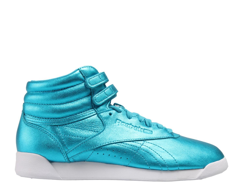 Reebok - Blue Classic Freestyle Hi Metallic Feather  white Shoes Cn0959 -  Lyst. View fullscreen 316eb8c648