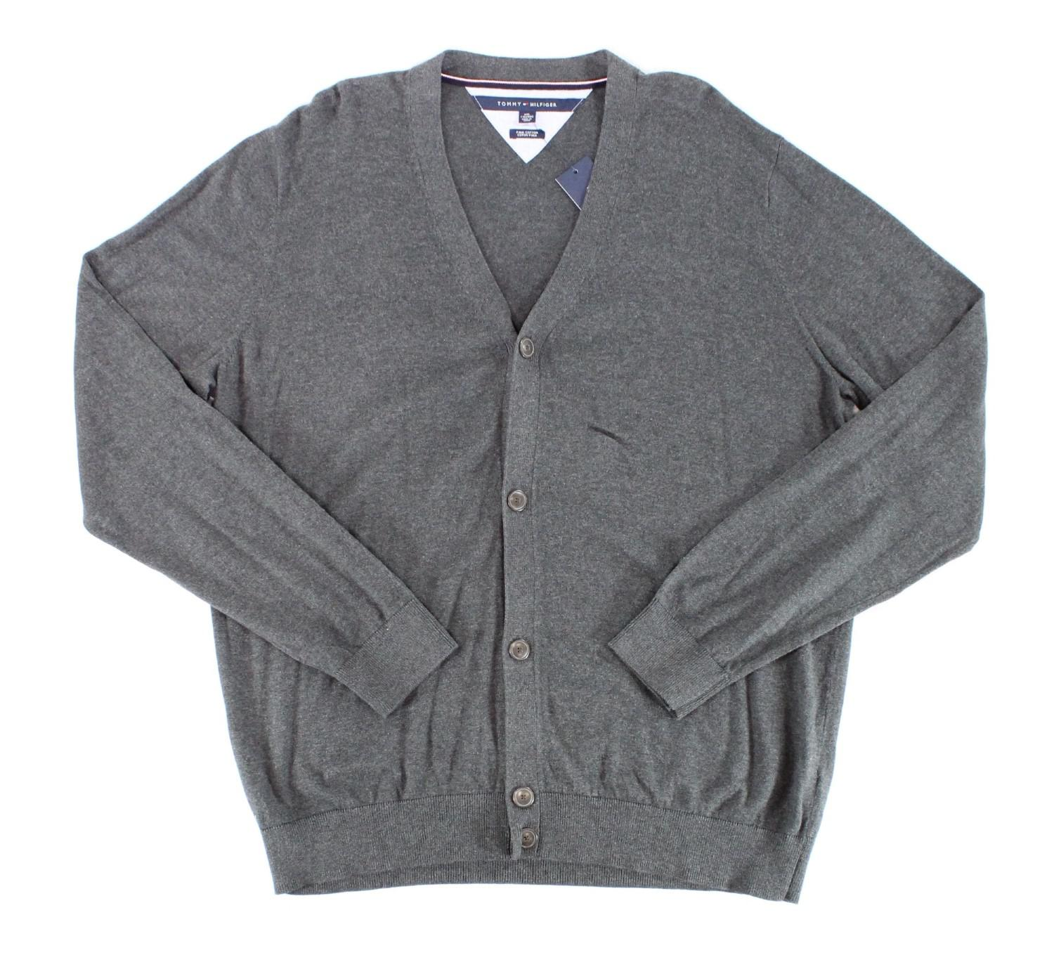 Tommy hilfiger Solid Charcoal Gray Mens Size 2xl Cardigan Sweater ...