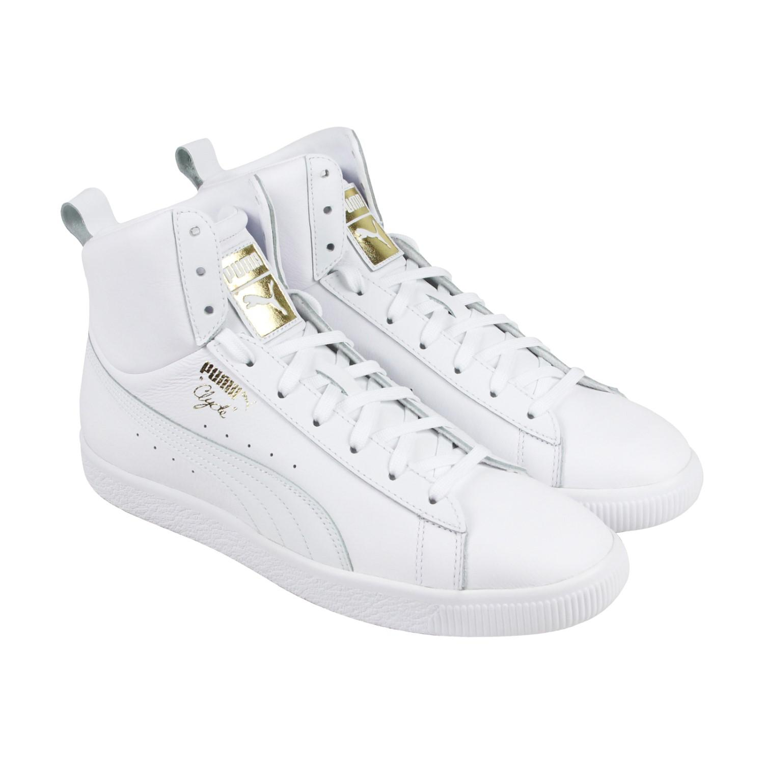 Lyst - PUMA Clyde Mid Core Foil White Mens High Top Sneakers in ... 88f8e2ee5