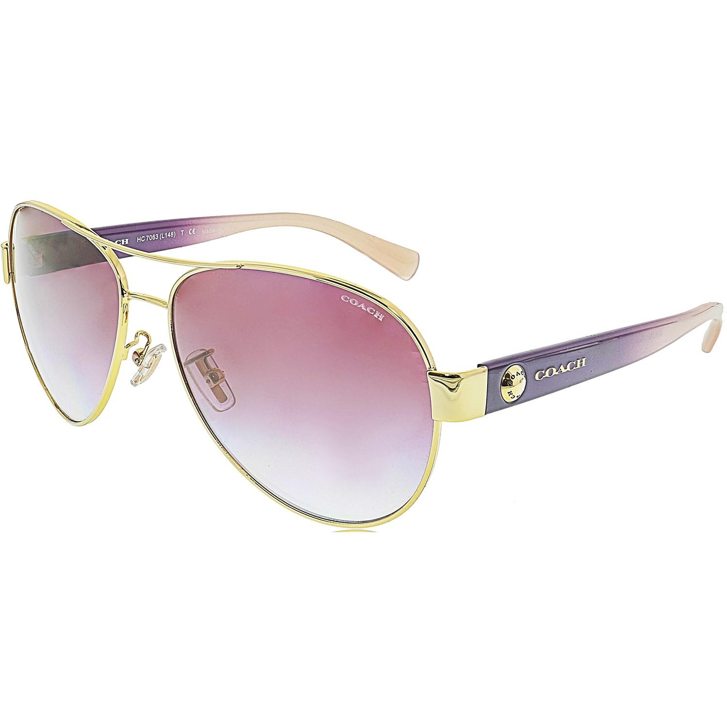 873328d642 official store lyst coach gradient hc7063 92638h 58 gold aviator sunglasses  in faea0 36315