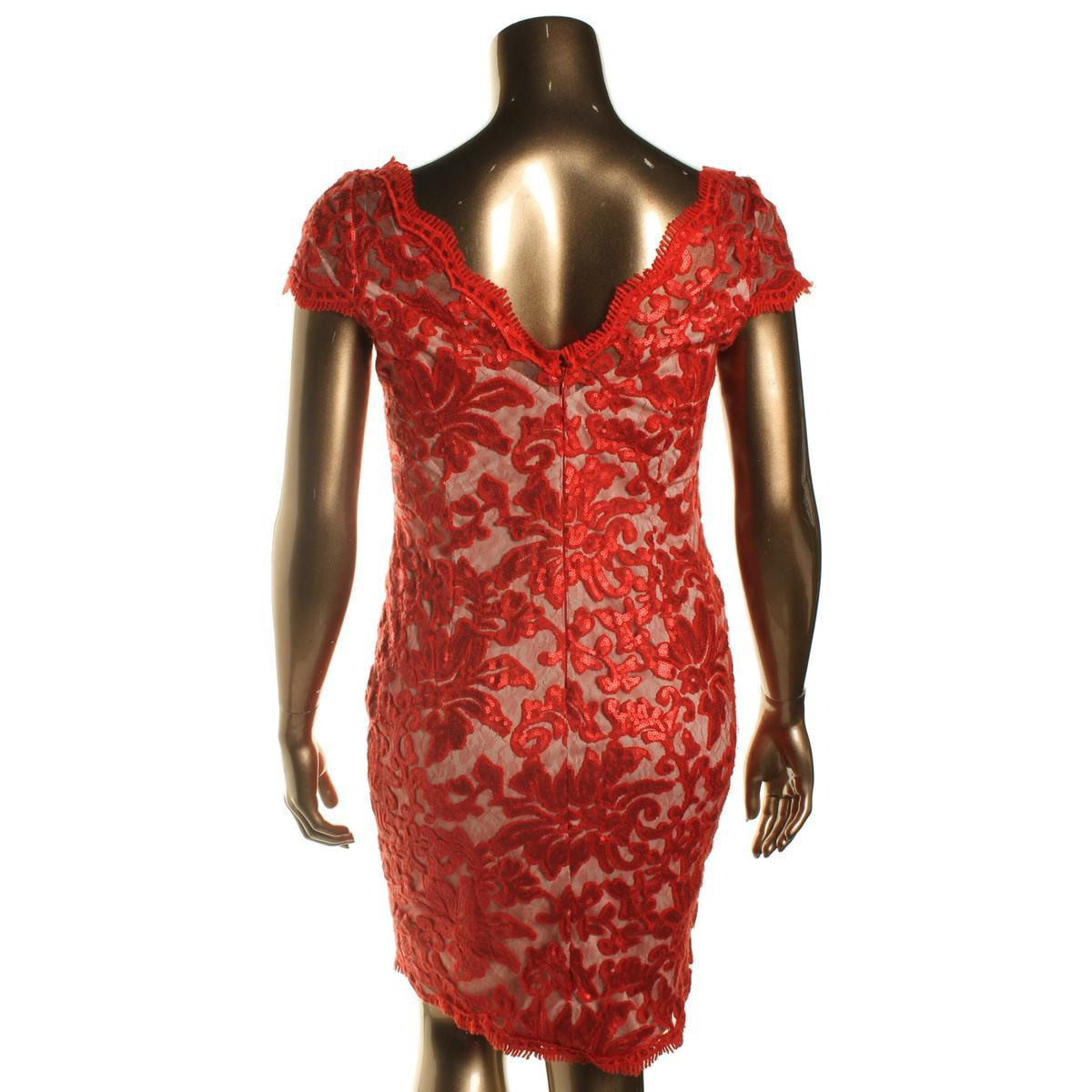 d9421c8f4ba Calvin Klein Lace Sequined Cocktail Dress in Red - Lyst