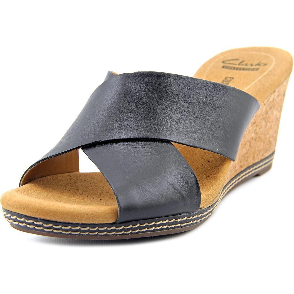 8ea0c9b477d Lyst - Clarks Narrative Helio Swan Women Us 8.5 Black Wedge Sandal