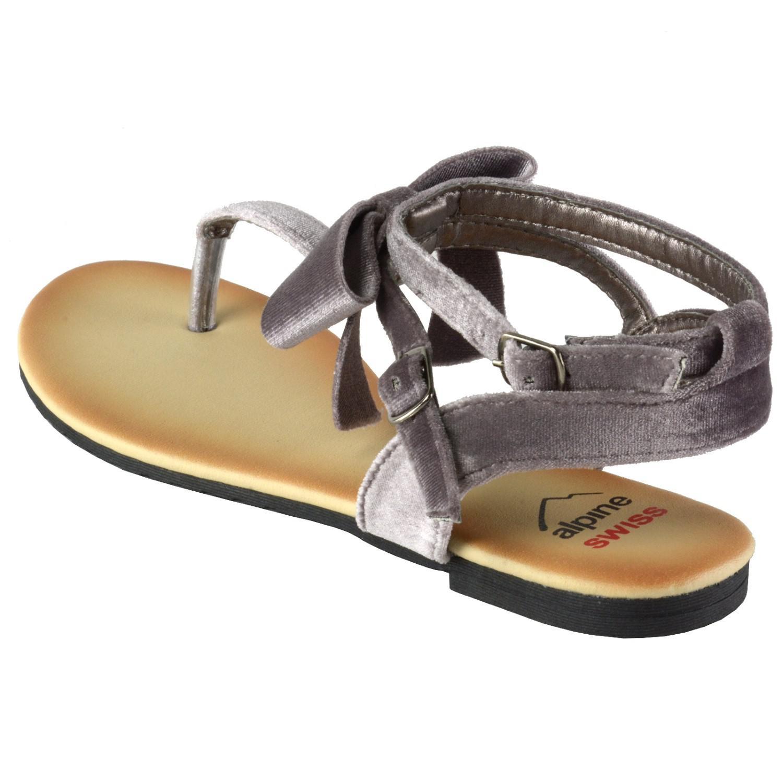 33e5fed93 Lyst - Alpine Swiss Velvet Bow Sandals T-strap Thong Gladiator ...