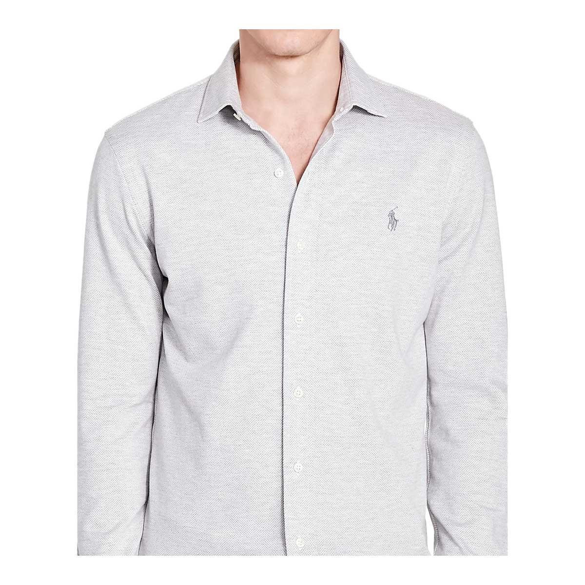 Lyst Polo Ralph Lauren Herringbone Knit Dress Shirt In Gray For Men