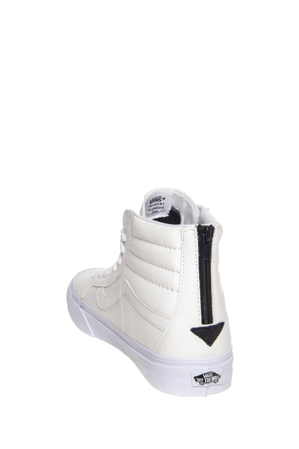 d3fa95c58b Lyst - Vans Sk8-hi Reissue Zip Premium Leather True White   Black ...