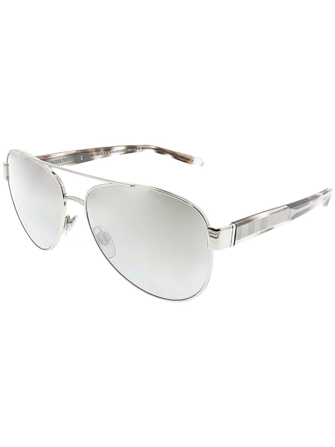 80fbfe943a Lyst - Burberry Gradient Be3084-10056v-57 Aviator Sunglasses in Metallic