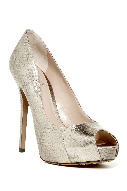 45b99d177da0 Lyst - Vince Camuto Lorimina Open Toe Leather Platform Heel Silver ...
