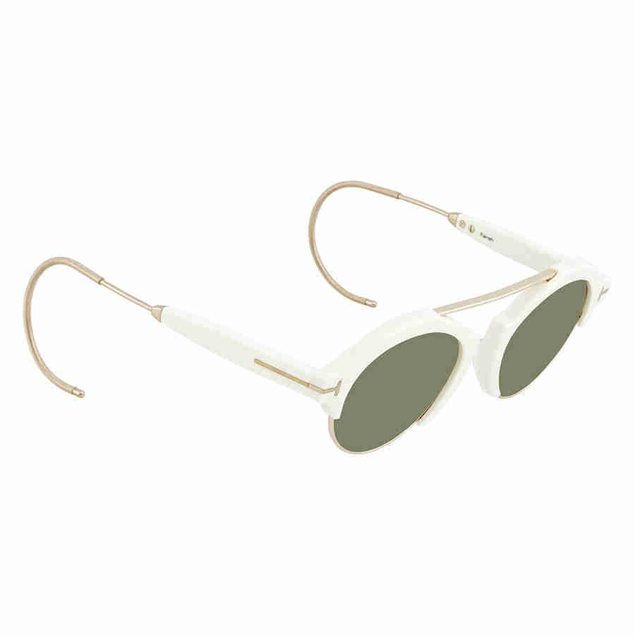 ee11043749e01 Tom Ford. Women s 2018 Farrah-02 Ft631 Ivory   Green T Logo Round  Sunglasses 49mm
