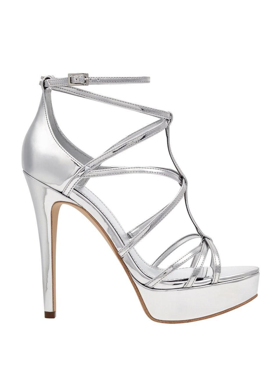 0a699504c15 Lyst - Guess Kico Strappy Platform Heels in Metallic