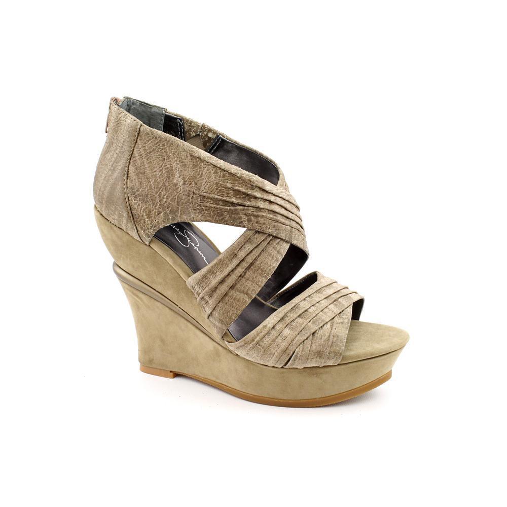 40ed88afbd85 Lyst jessica simpson taz women open toe leather brown wedge heel jpg  1000x1000 Wedge shoes jessica