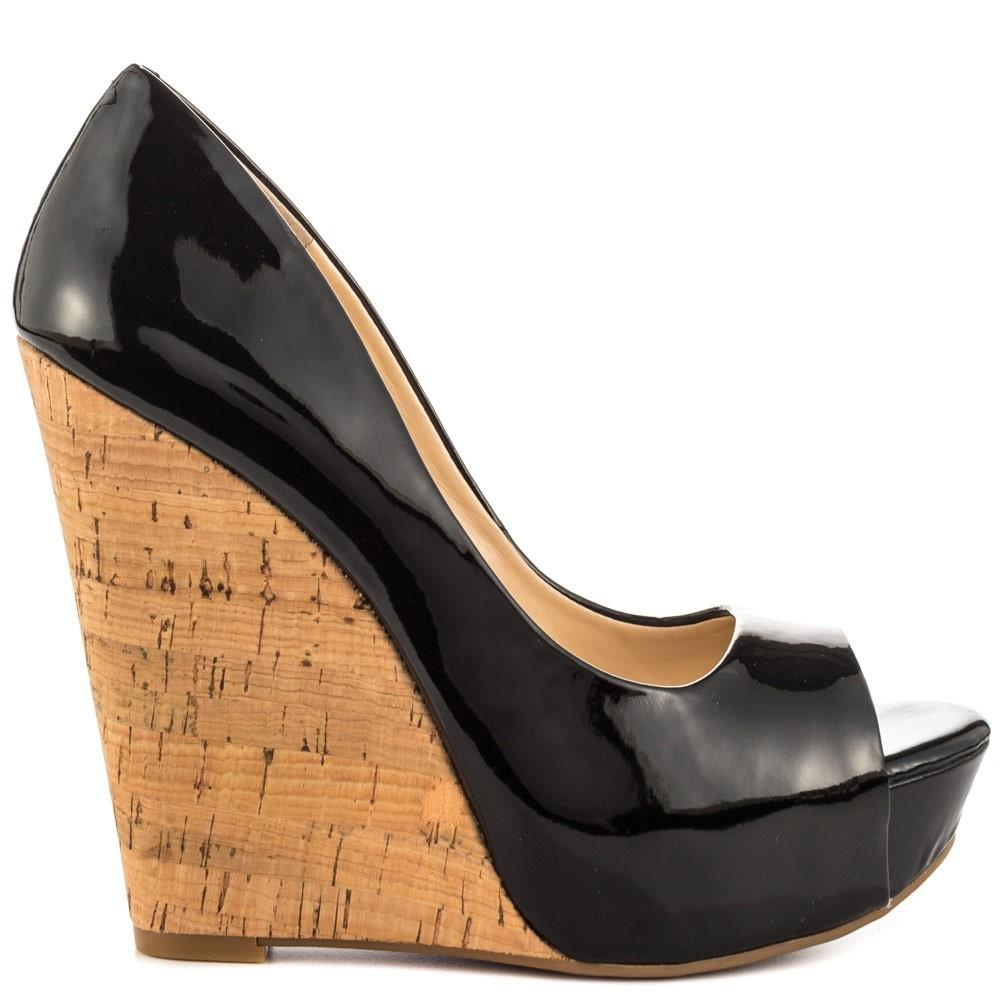 d889e26adb99 Jessica Simpson - Black Bethani Wedge Pump Patent - Lyst. View fullscreen