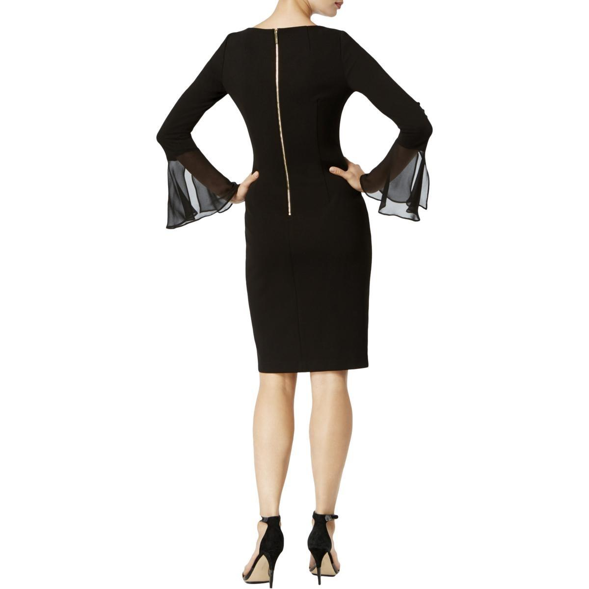 11e97c62 Calvin Klein Bell Sleeves Knee Length Party Dress in Black - Lyst