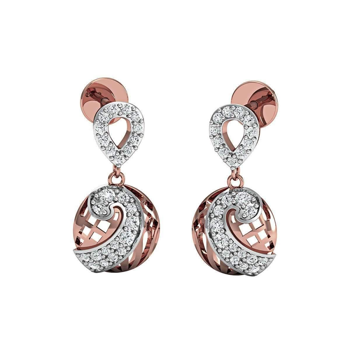 Diamoire Jewels Round Cut Premium Quality Diamond Earrings in 14kt Rose Gold sdeGF5peZV