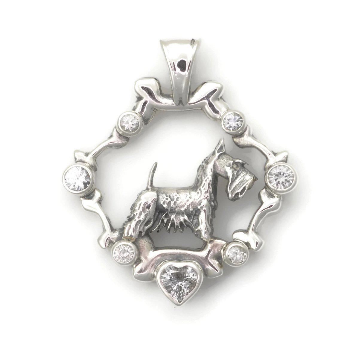 Donna Pizarro Designs Sterling Silver And White Sapphire Yorkshire Terrier Necklace N7PweNE