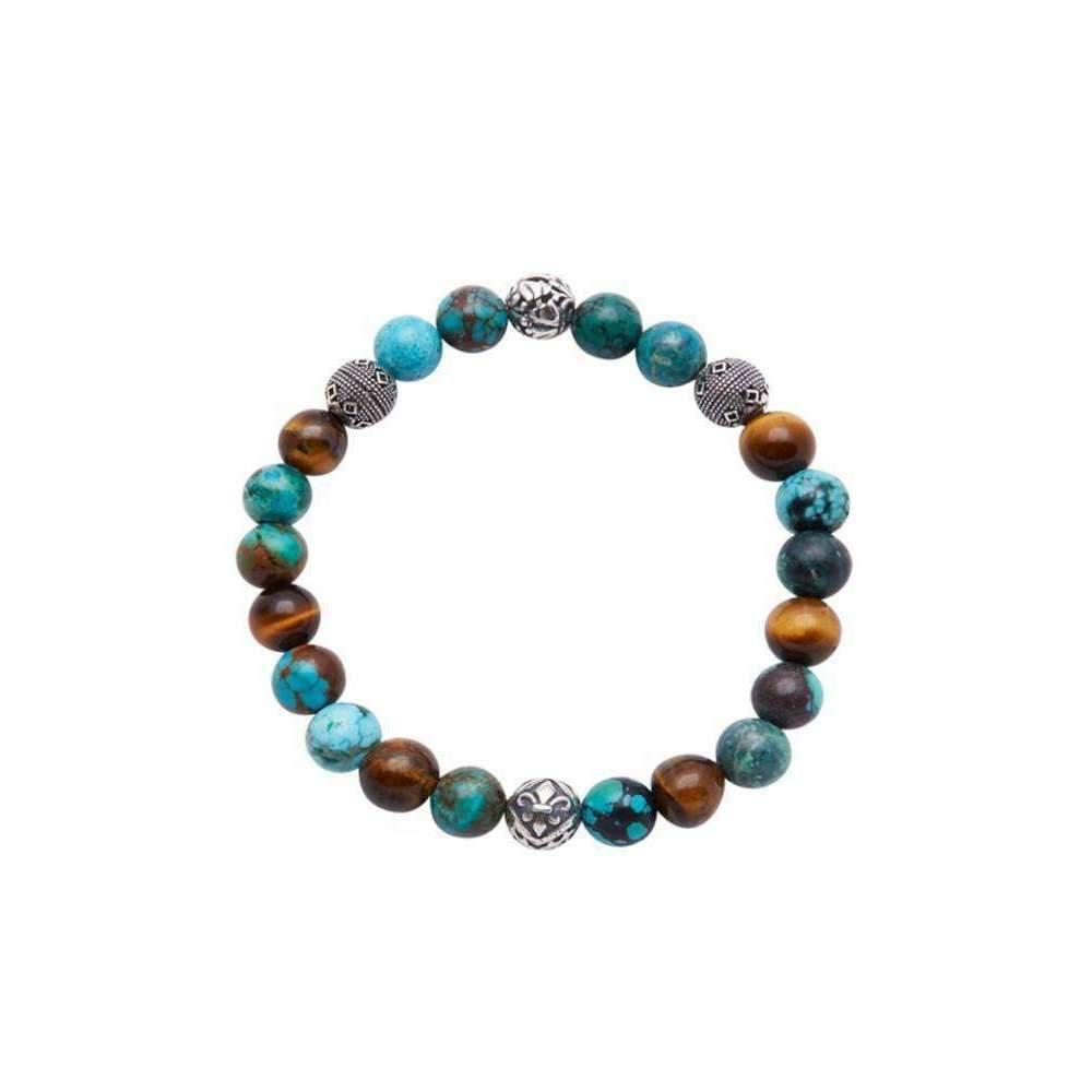 Nialaya Beaded Wristband with Bali Turquoise, Brown Tiger Eye and Silver - Extra Large