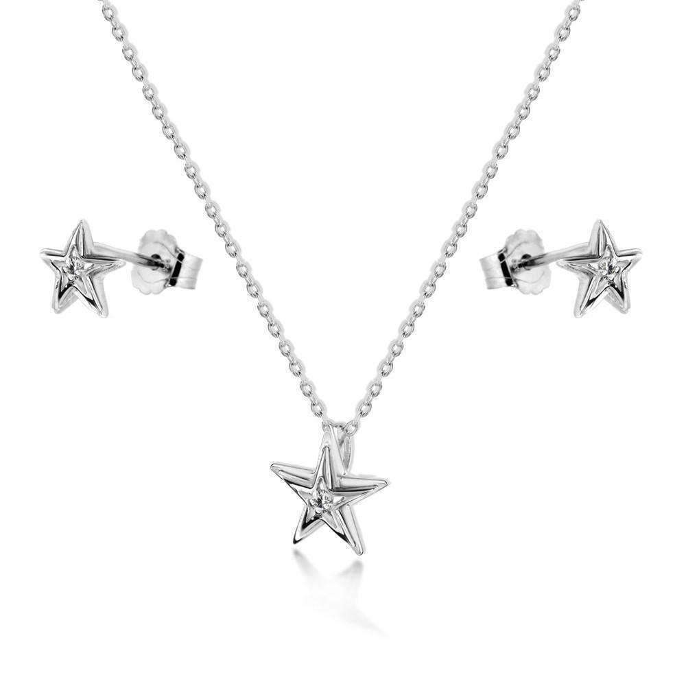 Lily & Lotty Aimee Silver & Diamond Heart Necklace 9nVLh7d