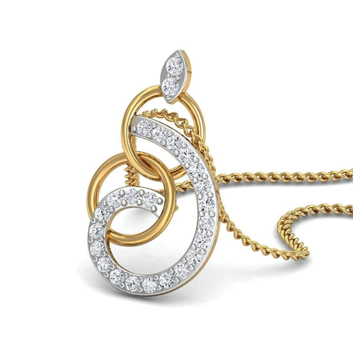 Diamoire Jewels Diamonds and 18kt Yellow Gold Nature inspired Luxe Pave Pendant