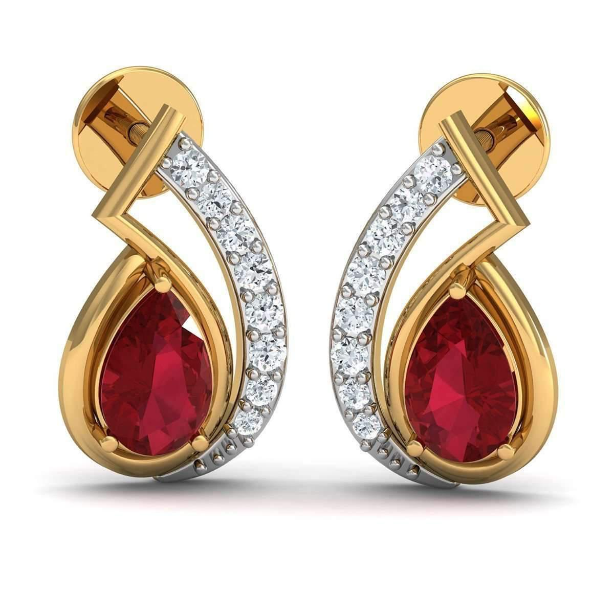 Diamoire Jewels Heart Shaped Ruby and Diamonds Pave 14kt Yellow Gold Earrings CUJzOO