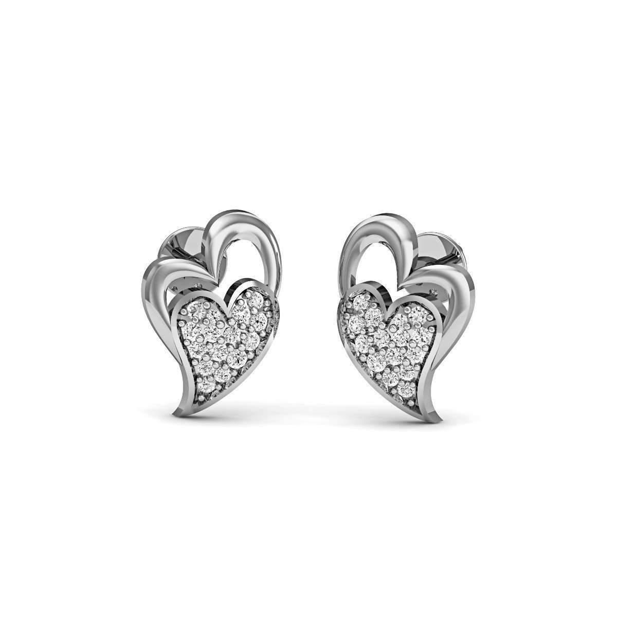 Diamoire Jewels Relished Heart-Carved Diamond Earrings in 18kt Rose Gold QQkhnvi