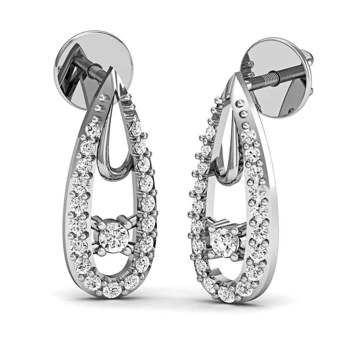 Diamoire Jewels Polished 18kt White Gold Inspired by nature Diamond Earrings ASgkvQk
