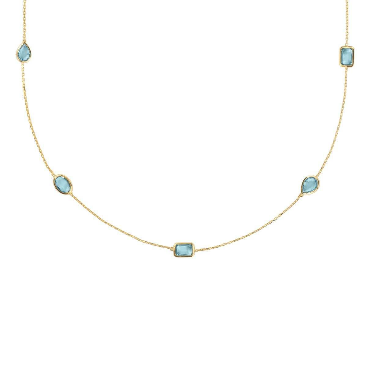 Latelita London Verona Gemstone Strand Necklace Gold Blue Topaz fVrm8
