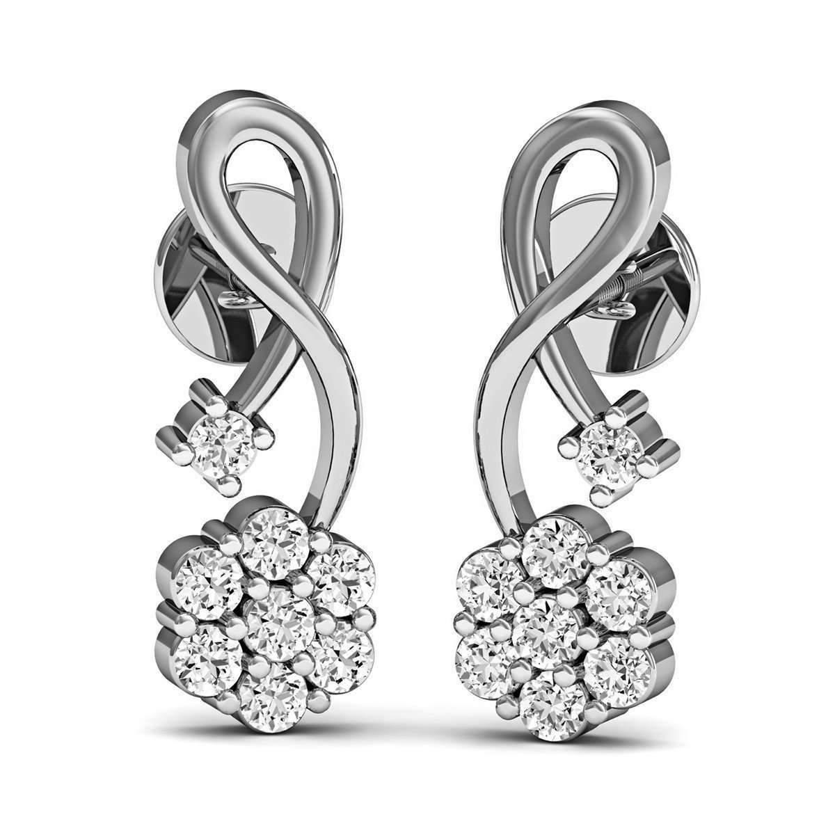 Diamoire Jewels Brilliant Cut Pave Diamond Earrings in 10kt Yellow Gold ENgee1qUW