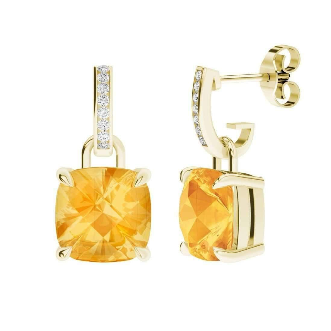 StyleRocks Citrine 9kt Yellow Gold And Diamond Drop Earrings adgHvy