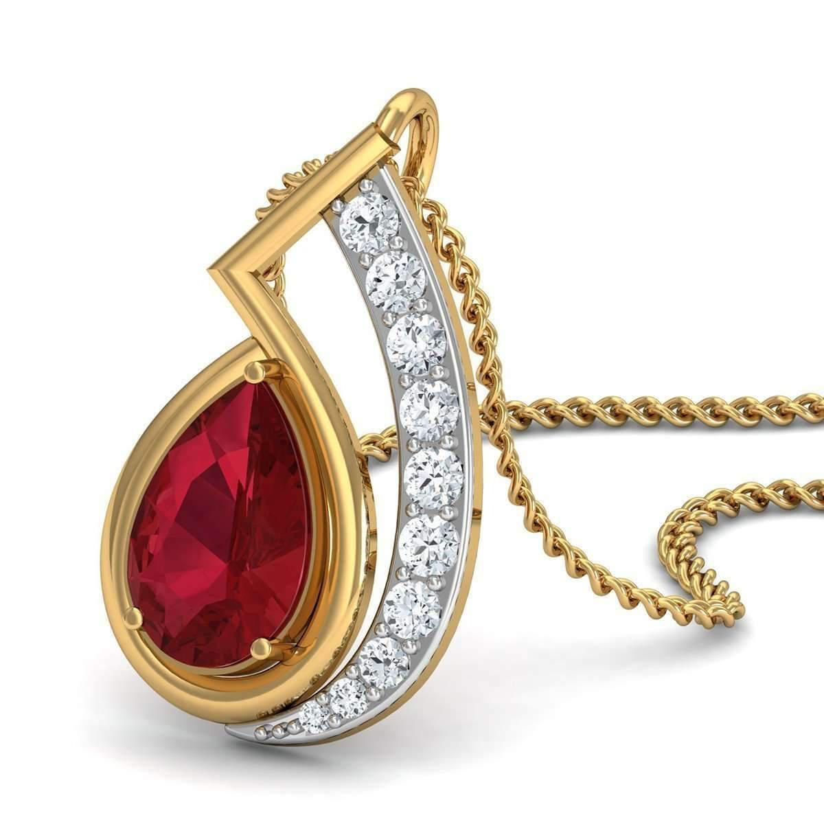 Diamoire Jewels Nature Inspired Prong Set African Ruby and Diamond Pendant in 14kt Yellow Gold F77v1