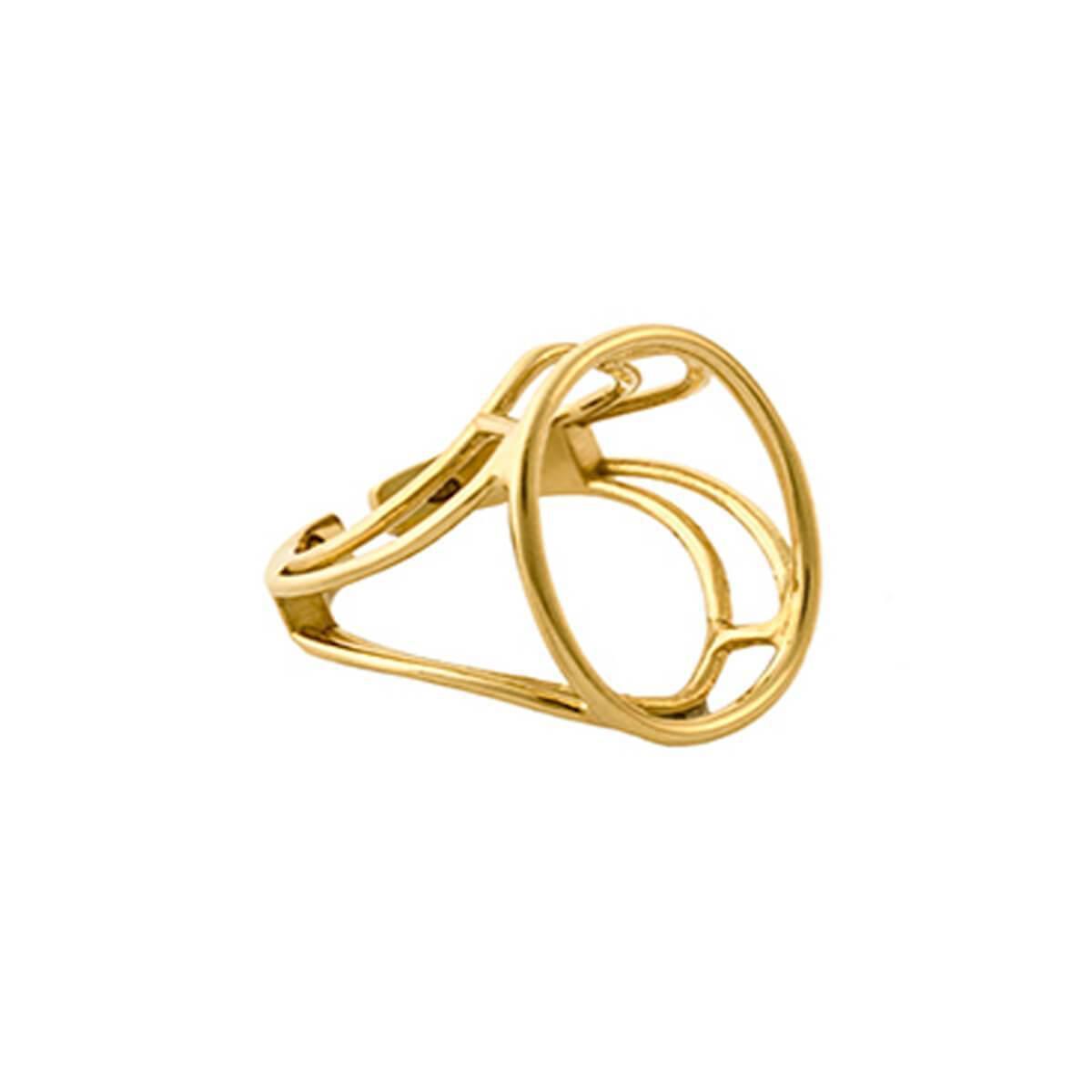 Glenda Lopez 18kt Gold Dipped Empty Signet Ring - UK N - US 6 1/2 - EU 54 S5H8kay