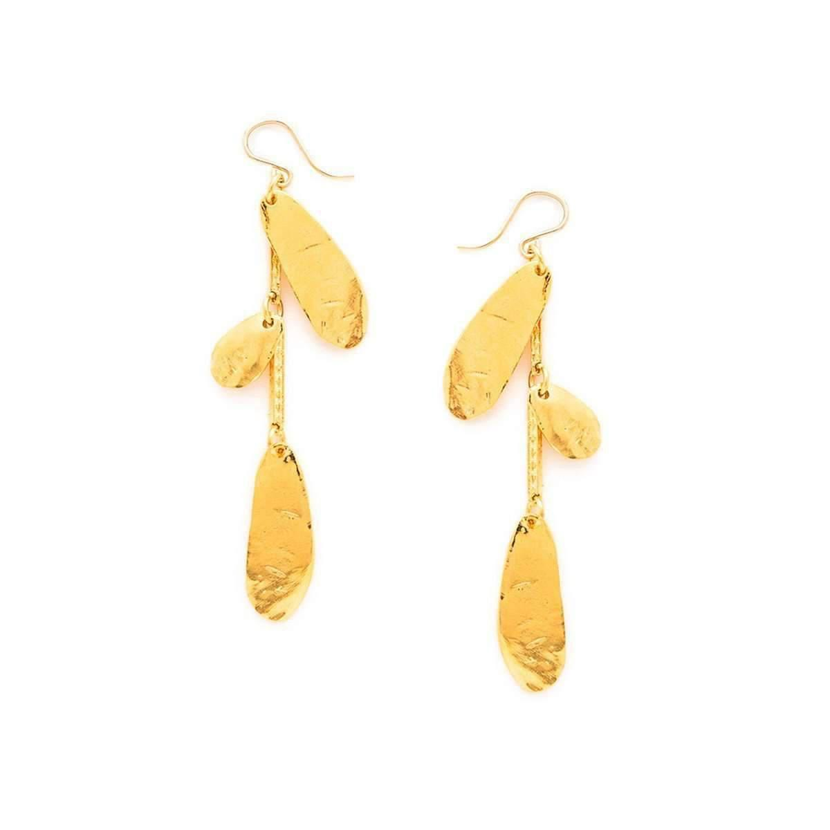Devon Leigh Hammered Oval Statement Drop Earrings IaOqwfDt