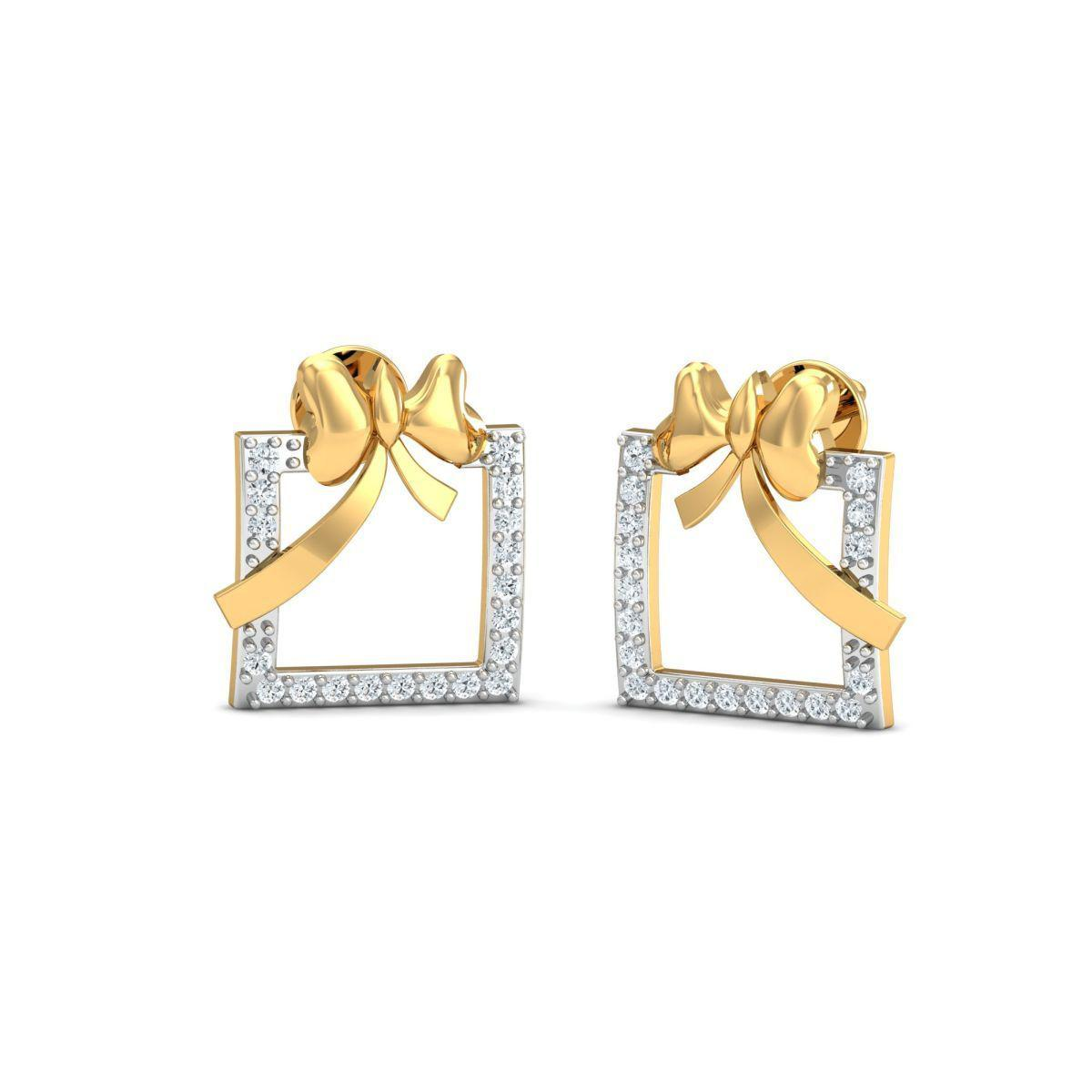 Diamoire Jewels 18kt Yellow Gold 0.14ct Pave Diamond Infinity Earrings II tvJYU