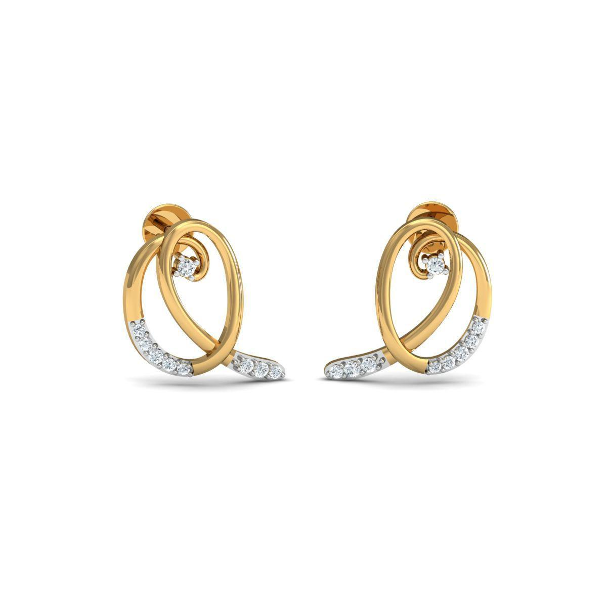 Diamoire Jewels Infinity Diamond Pave Stud Earrings in 18kt Yellow Gold FjHmjwUJy