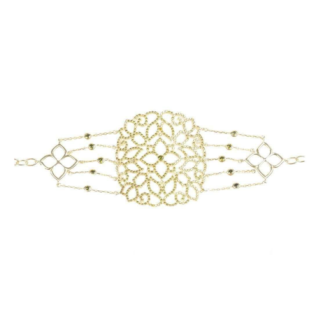 Latelita London 22kt Gold Vermeil Micro pave Filigree Bracelet Peridot