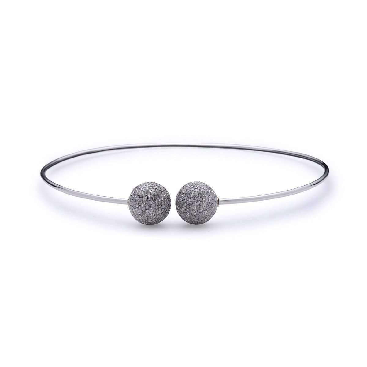 Socheec Spherical Open-ended Diamond Bangle Necklace K98B3Vr