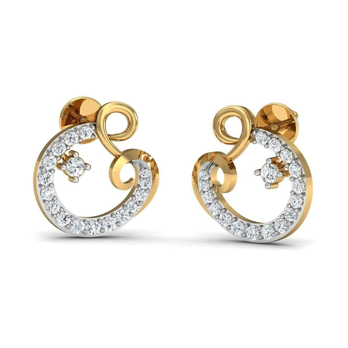 Diamoire Jewels Pave Earrings Handmade from Quality 14kt Rose Gold and Diamonds qat70VR5q