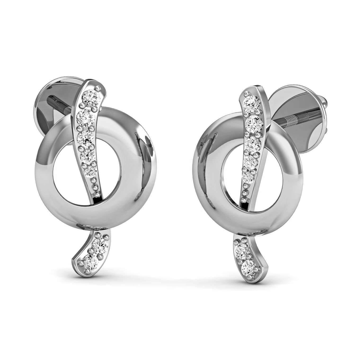 Diamoire Jewels Polished 10kt White Gold Inspired by nature Diamond Earrings 0U0PMZqt8