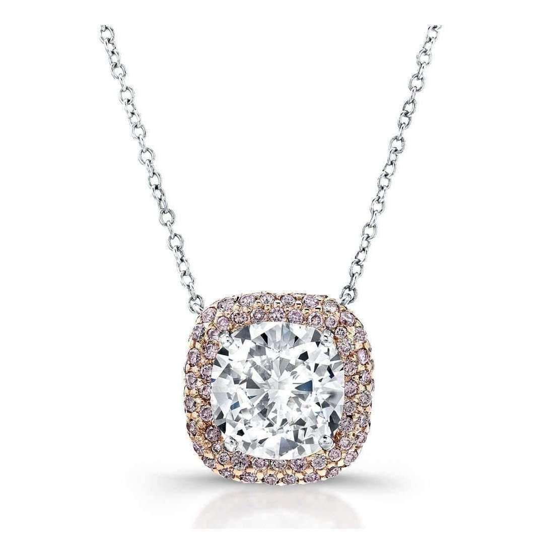 Harry Kotlar Round Diamond Solitaire Bloom Artisan Pave Necklace - 16 jJTWAJ1cCR